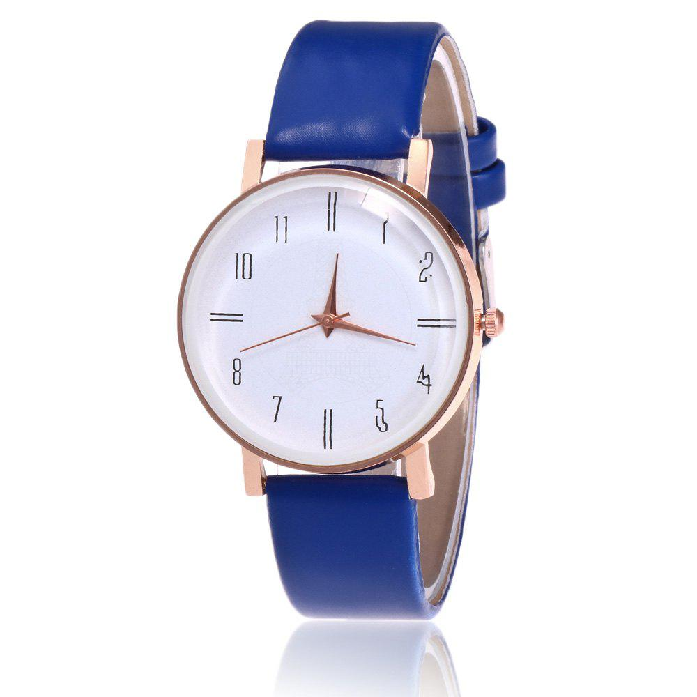 Faux Leather Minimalist Number Watch - BLUE