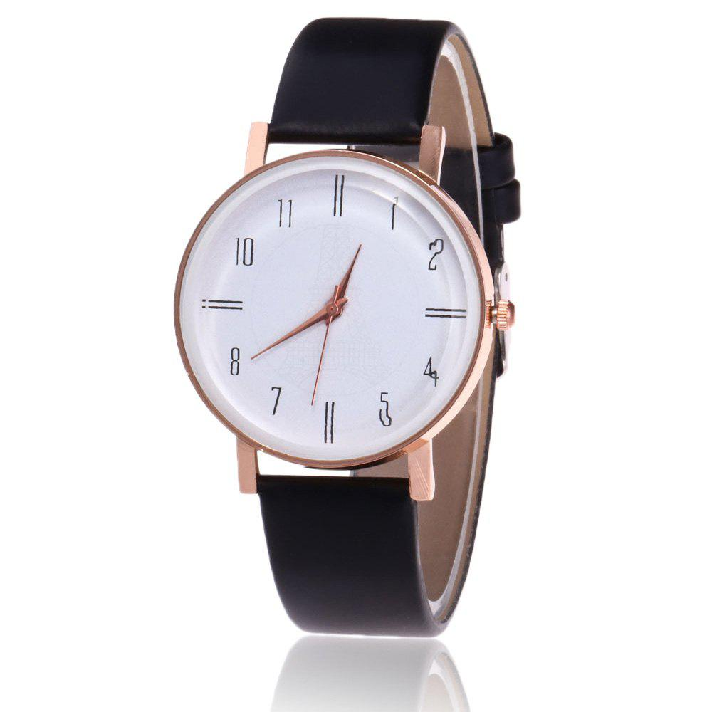 Faux Leather Minimalist Number Watch - BLACK