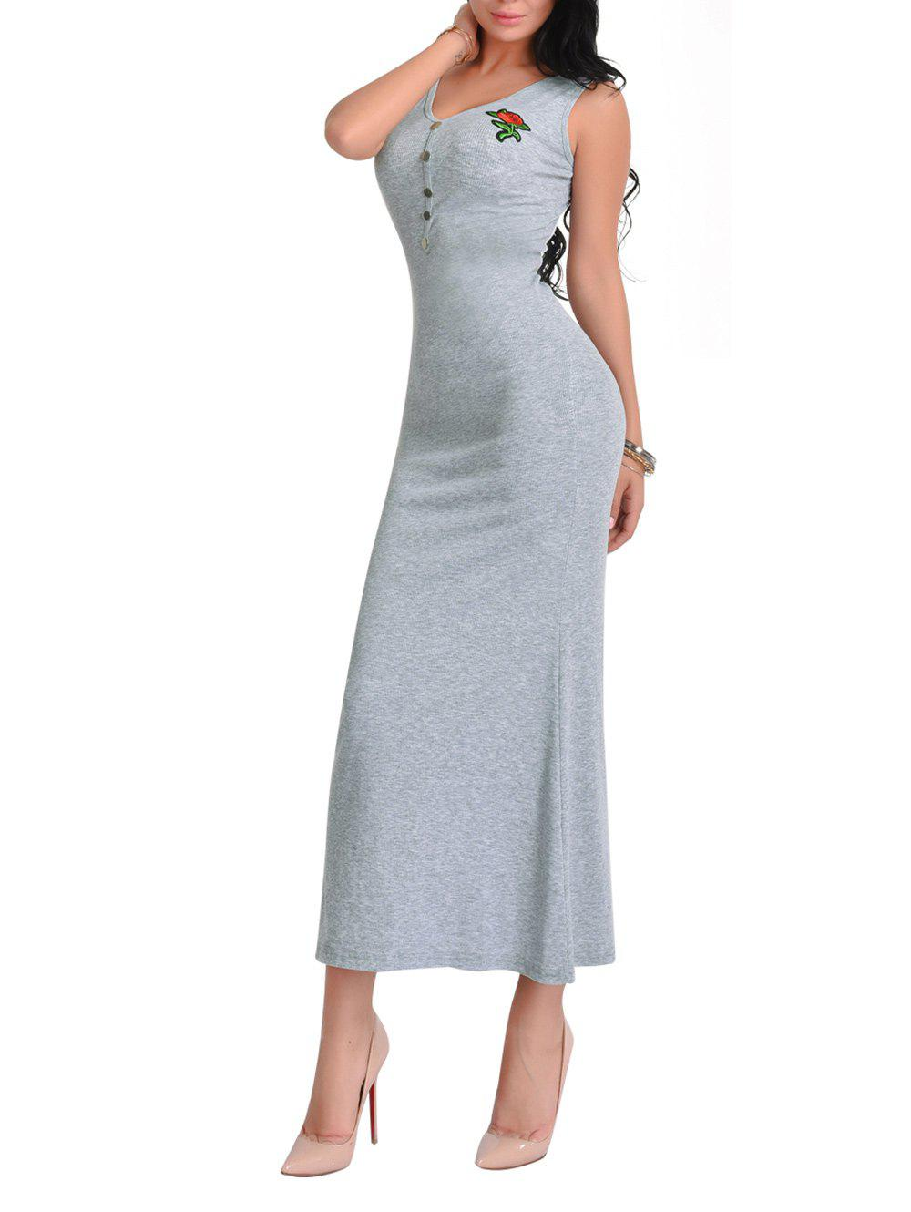 Floral Embroidered V Neck Maxi Dress - LIGHT GREY ONE SIZE