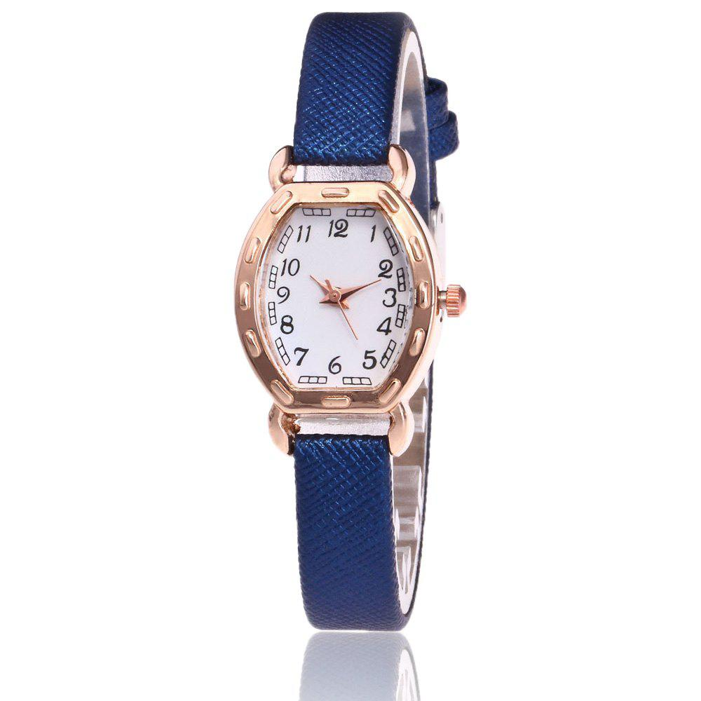 Faux Leather Number Analog Watch - BLUE