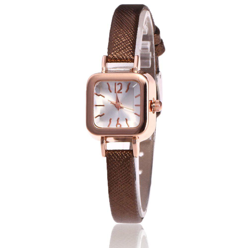 Faux Leather Square Shape Watch - BROWN