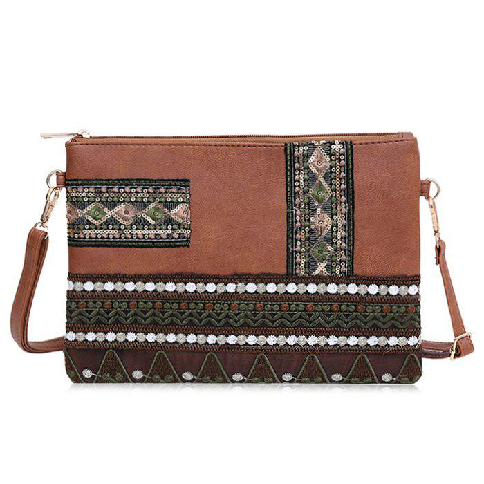 Floral Embroidery Faux Leather Crossbody Bag - BROWN