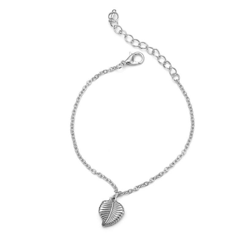 Single Leaf Pendant Link Bracelet - SILVER