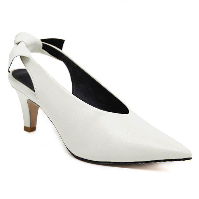 Slingback Slip On Point Toe Pumps - Blanc 38