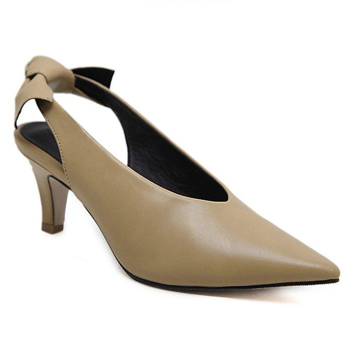 Slingback Slip On Point Toe Pumps - Abricot 38