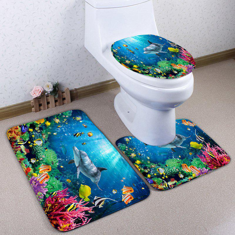 Sea World Print Skidproof 3Pcs Flannel Toilet Mat Set - BLUE
