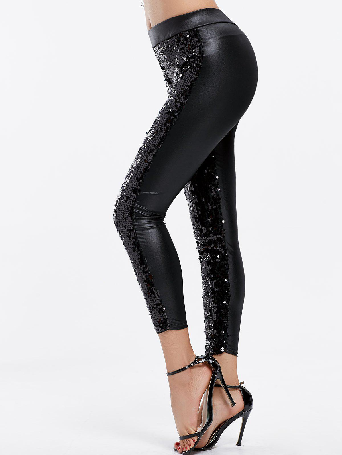 Fashionable Sequins Splicing Over Hip Skinny Leggings For Women - BLACK ONE SIZE