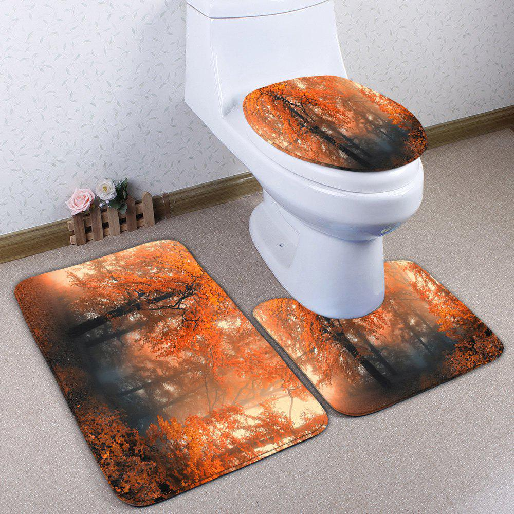 Flannel 3Pcs Skidproof Maple Forest Toilet Mat Set - LIGHT BROWN MAPLE
