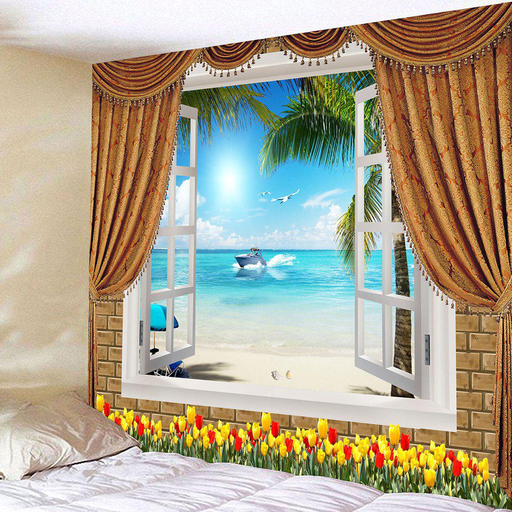Flowers Window Seascape Waterproof Wall Tapestry - LIGHT BLUE W79 INCH * L59 INCH