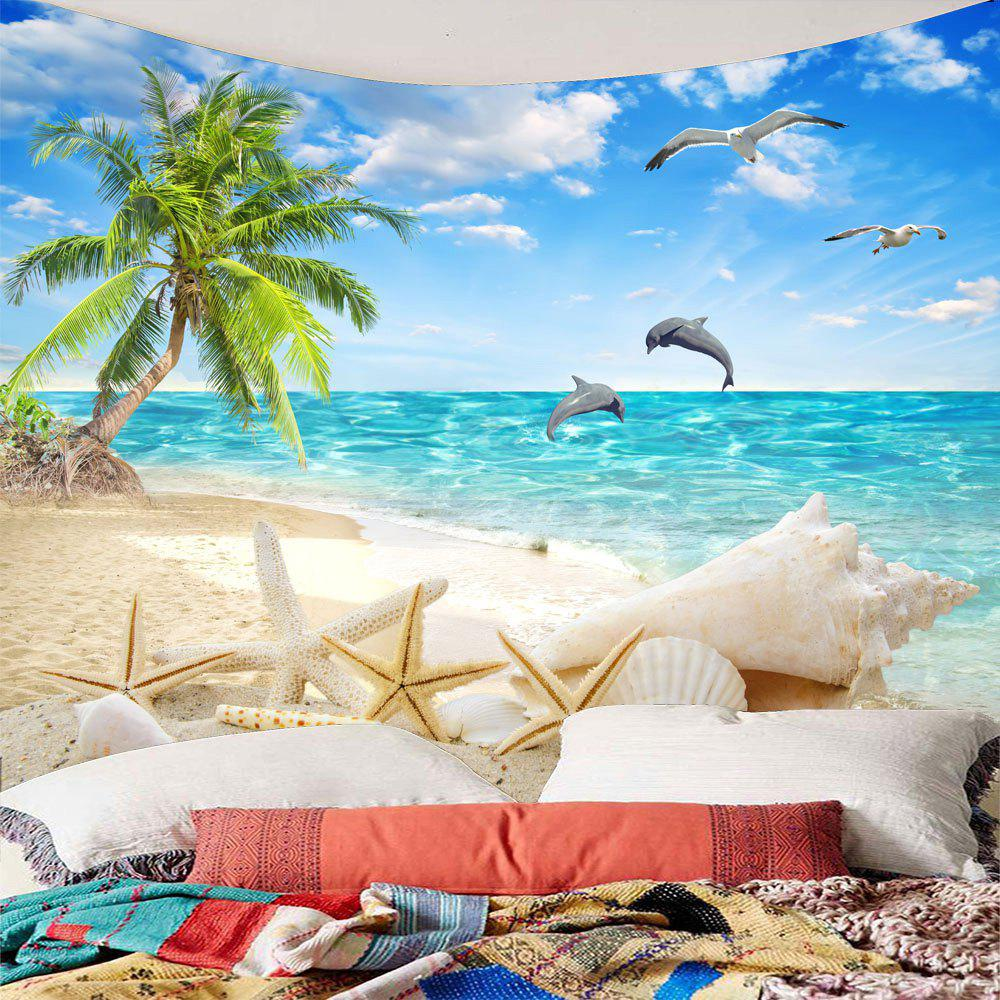 Coconut Palm Seascape Beach Waterproof Tapestry - LIGHT BLUE W79 INCH * L59 INCH