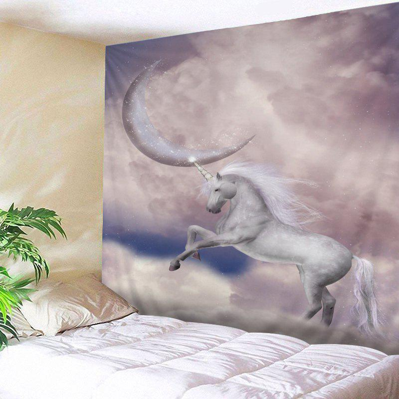Moon Unicorn Print Tapestry Wall Hanging Art - Blanc W79 INCH * L59 INCH
