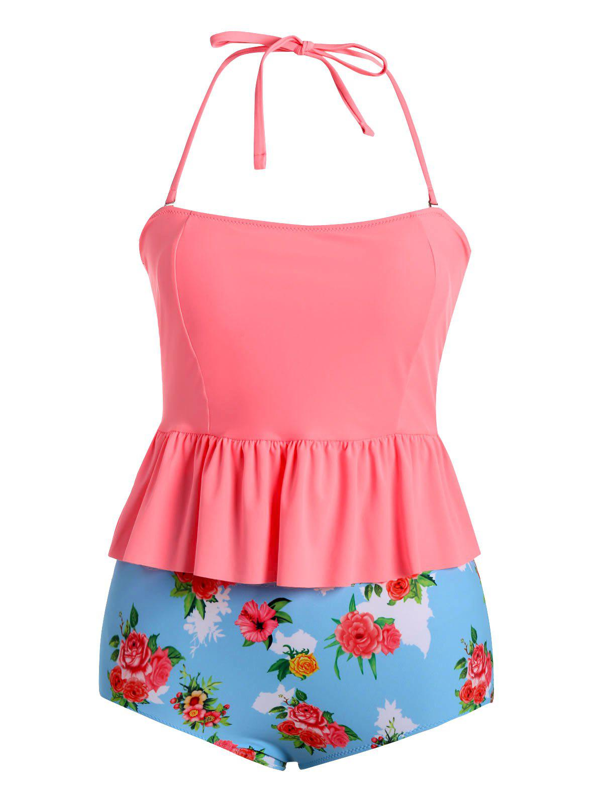 Costume Tankini Floral Flounce Plus Size - Rose Clair 2XL