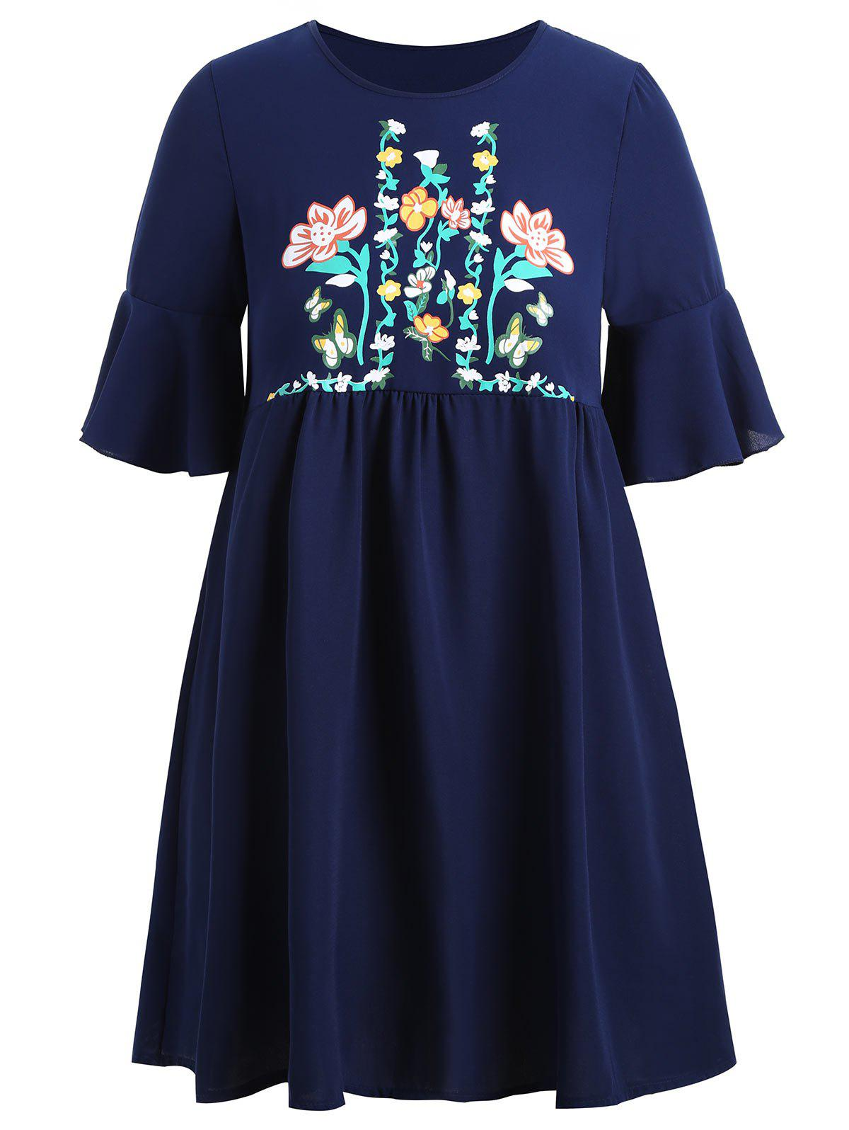 Plus  Size Floral Flare Sleeve Tunic Top - PURPLISH BLUE 2XL