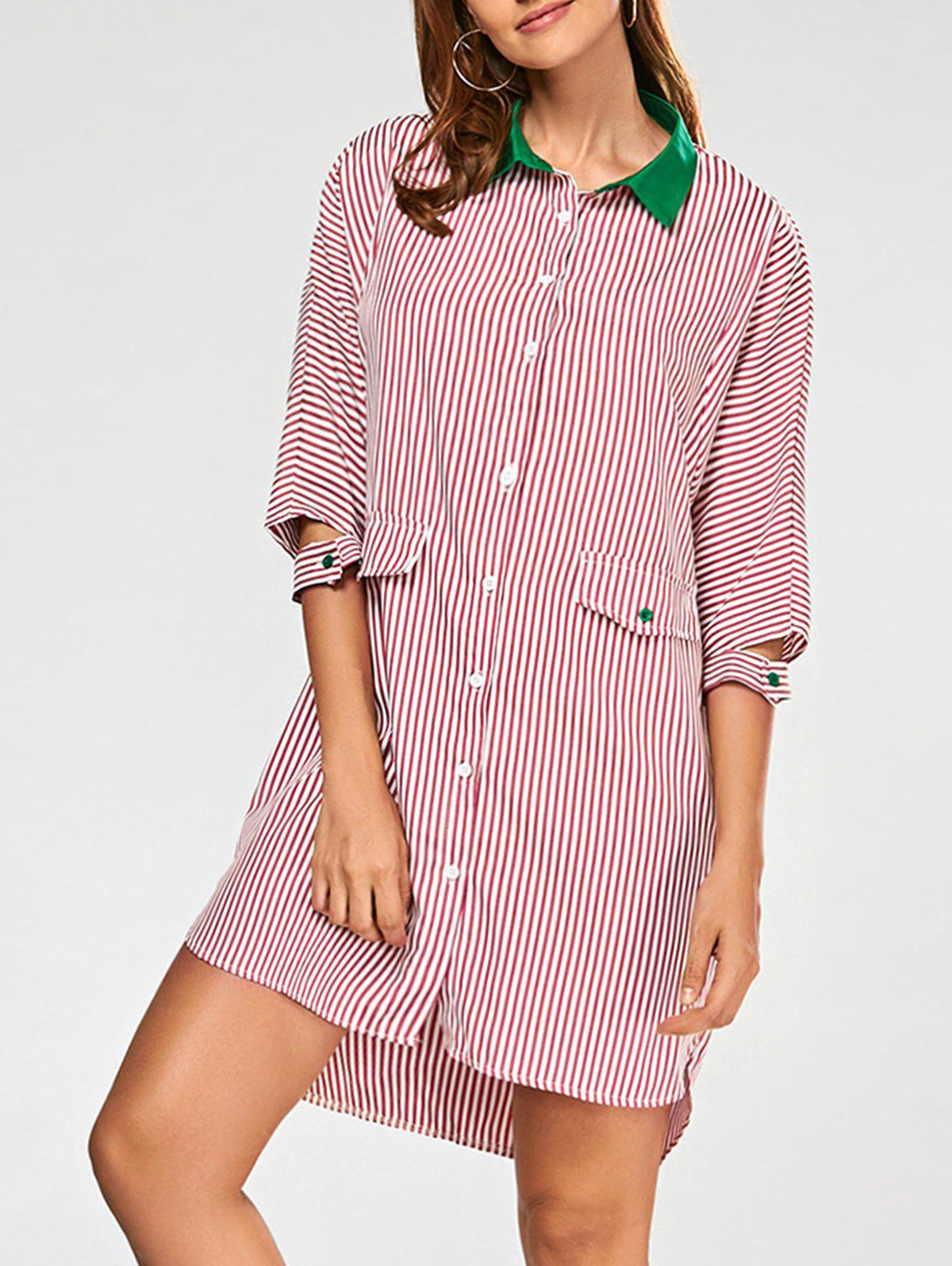 Striped High Low Shirt Dress - RED L