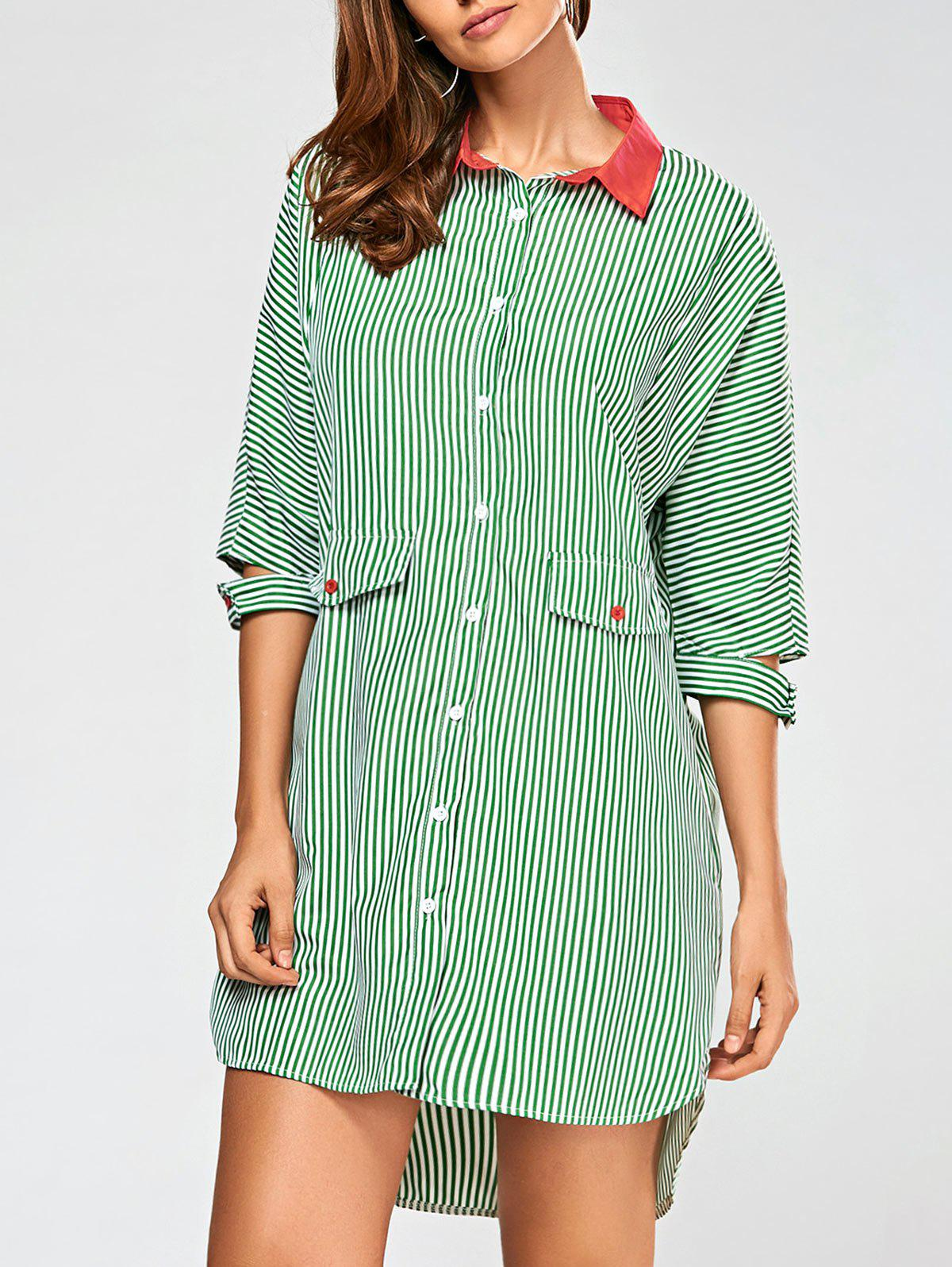 Striped High Low Shirt Dress - GREEN M