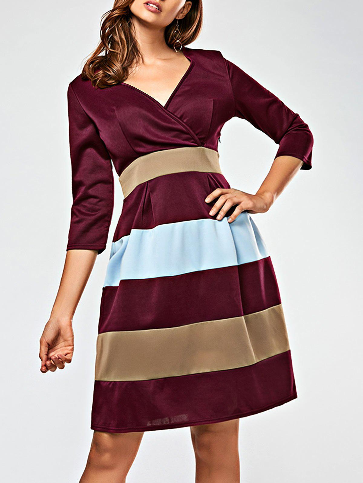 V Neck Color Block Surplice Dress - WINE RED S