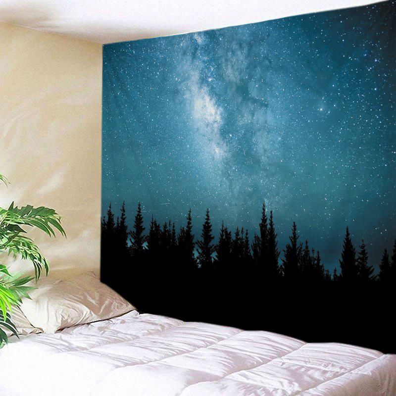 Starry Sky Forest Print Tapestry Wall Hanging Art forest wooden bridge print tapestry wall hanging art