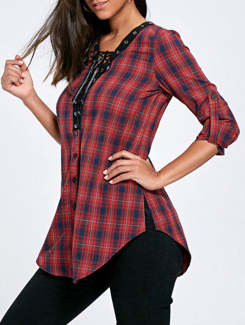 Lace Up Button Up Plaid Long Shirt - COLORMIX XL