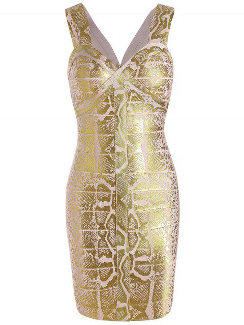 Glitter Sweetheart Neck Sleeveless Bandage Dress - GOLDEN M