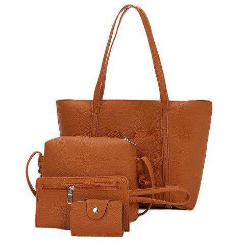 4 Pieces Faux Leather Shoulder Bag Set - BROWN