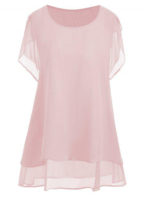 f470af302d180 LIMITED OFFER  2019 Beaded Chiffon Plus Size Tunic Top In PINK 5XL ...