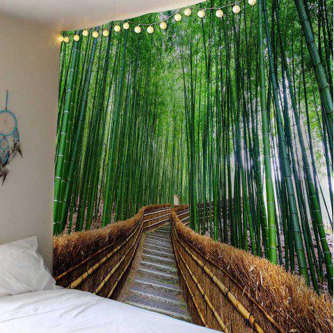 Wall Decor Bamboo Grove Pathway Waterproof Tapestry - GREEN W71 INCH * L71 INCH