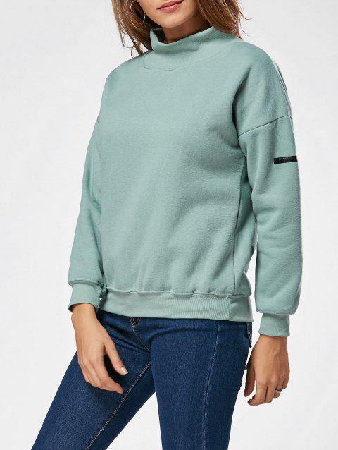 High Neck Fleece Sweatshirt - GREEN ONE SIZE