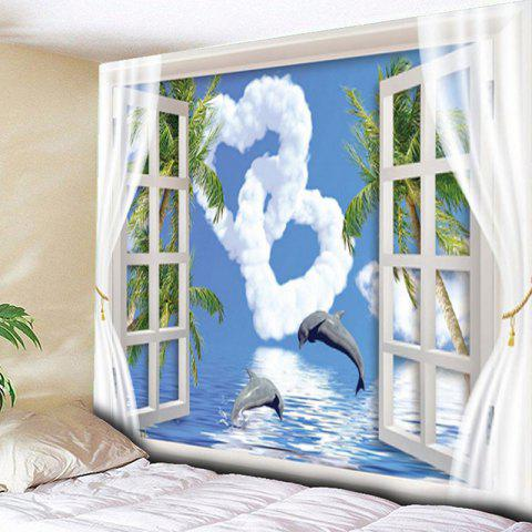 Dolphin Heart Window Wall Hanging Tapestry - BLUE SKY / CLOUD W59 INCH * L59 INCH