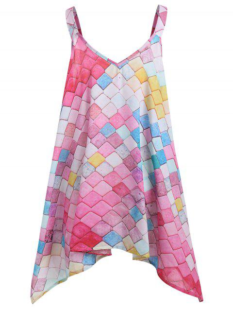 Sleeveless Printed Plus Size Handkerchief Top - multicolor 4XL