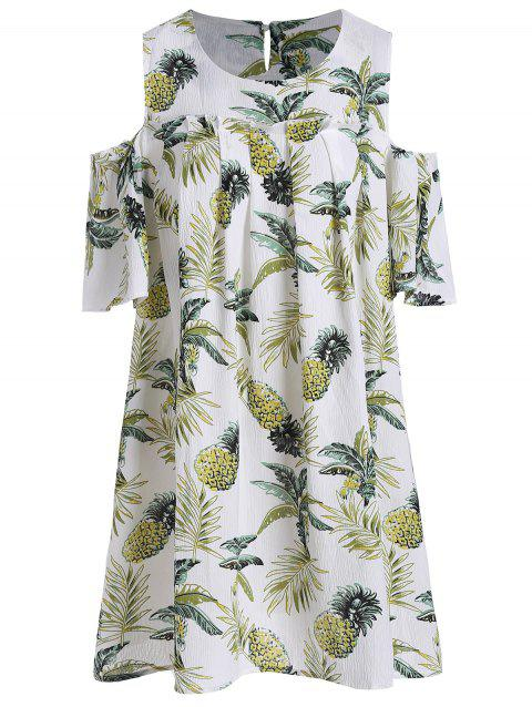 8fae4debd93 Cold Shoulder Pineapple Print Plus Size Tunic Top - WHITE 2XL. Sold Out