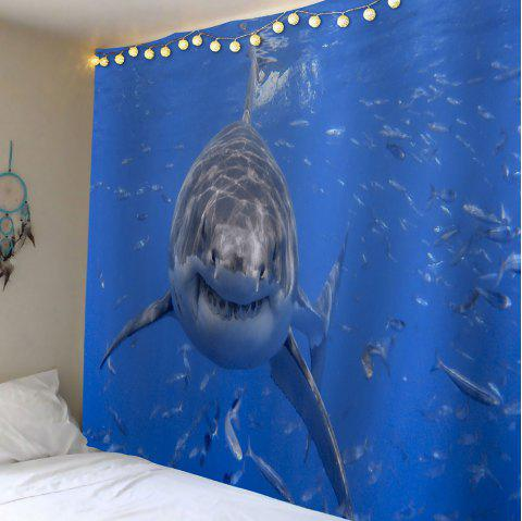 Water Shark Printed Wall Hanging Tapestry - BLUE W59 INCH * L59 INCH