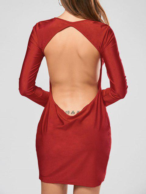 Scoop Collar Solid Color Backless Long Sleeves Women's Bodycon Dress - RED M