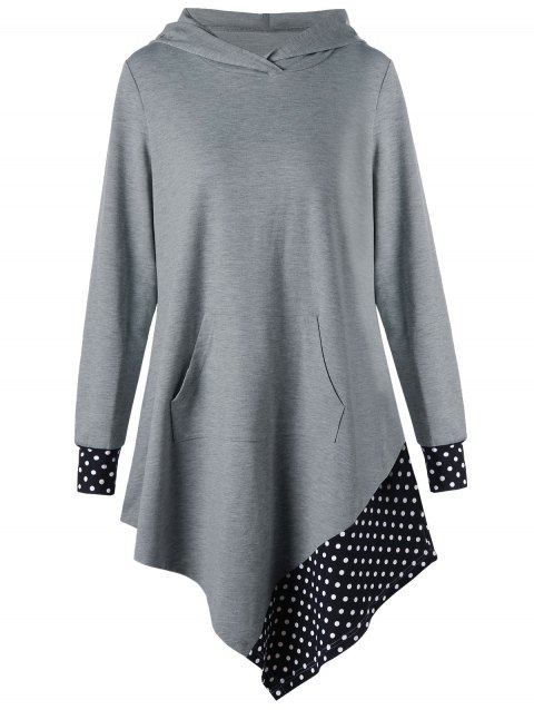 Sweat à capuche asymétrique en tunique à pois - Gris L