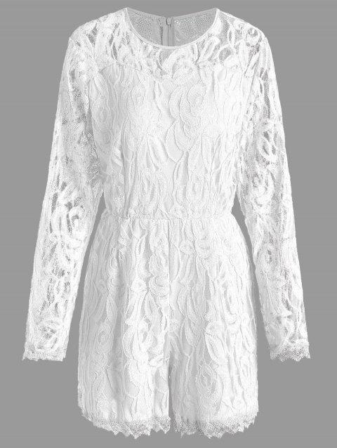4fcf836b38b LIMITED OFFER  2019 Lace Panel See Thru Plus Size Romper In WHITE ...
