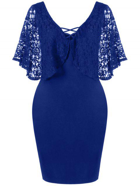 Plus Size Batwing Lace Sleeve Bodycon Dress
