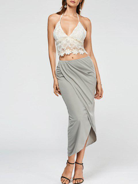 Halter Backless Lace Top+Asymmetric Drape Skirt - GREY/WHITE S