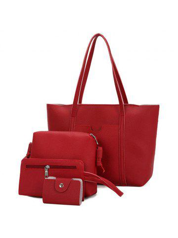 ba29f552f8 4 Pieces Faux Leather Shoulder Bag Set