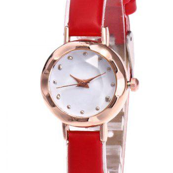 Faux Leather Roundel Watch -  RED