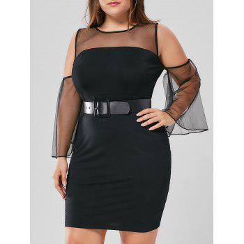 Plus Size Mesh Yoke Flare Sleeve Dress