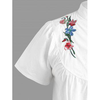 Floral Embroidered Short Sleeve Plus Size Top - WHITE 2XL