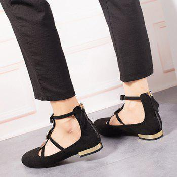 Bow and Rhinestone T-strap Faux Suede Flats - BLACK 38
