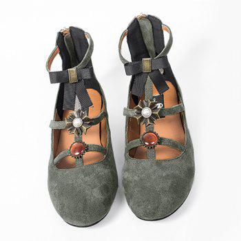 Bow and Rhinestone T-strap Faux Suede Flats - GRAY 37