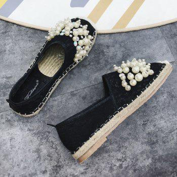 Slip On Mesh Faux Pearl Espadrille Flats - 38 38