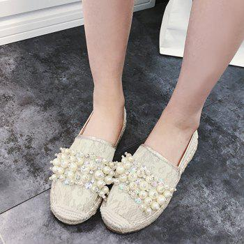 Slip On Mesh Faux Pearl Espadrille Flats - APRICOT 39