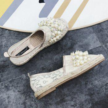 Slip On Mesh Faux Pearl Espadrille Flats - APRICOT 37
