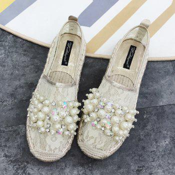 Slip On Mesh Faux Pearl Espadrille Flats - Abricot 38