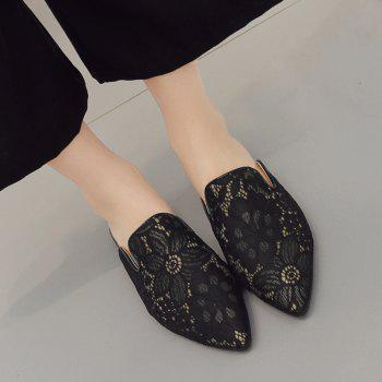 Embroidery Point Toe Lace Mules - 37 37