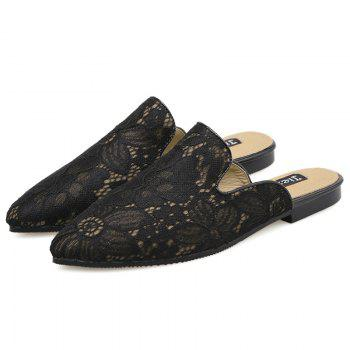 Embroidery Point Toe Lace Mules - 38 38