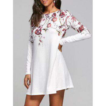 Long Sleeve Flower Print T-shirt Shift Dress