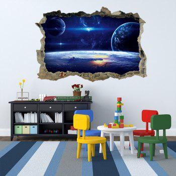 3D Galaxy Planets Broken Wall Art Sticker - BLUE 45*60CM